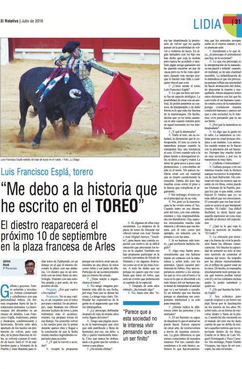 Entrevista publicada en el periódico EL ROTATIVO de la Universidad CEU Cardenal Herrera.